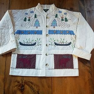 Orvis cotton embroidered jacket